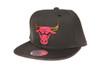 Chicago Bulls Gloss Gold Logo Woven Brim Mitchell & Ness NBA Black Snapback Hat