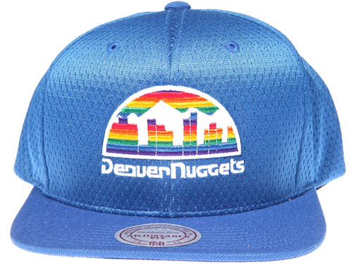 competitive price af38b 4c804 ... best price denver nuggets logo mitchell ness nba blue mesh snapback hat  d4110 693ac new ...