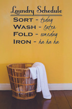 Laundry Schedule Wall Decal