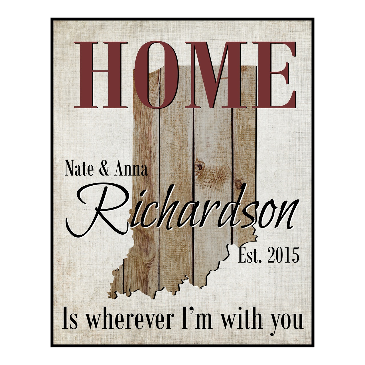 Home Is Wherever I M With You Wood Sign Home Decor: State Shape Family Name Sign
