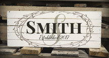 Personalized Family Name Pallet Box Sign Made with Rustic Wood and Floral Wreath Design