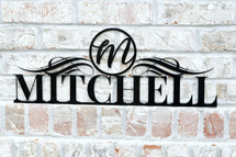 Personalized Metal Name Sign with Circle Monogram