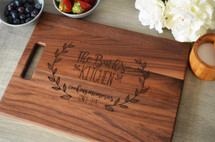 Floral Wreath Personalized Kitchen Cutting Board