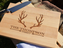 Personalized Cutting Board With Antler And Arrow Design