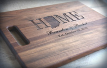 Personalized Engraved State Shape Cutting Board