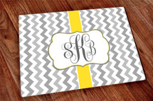 Scroll Monogram Glass Cutting Board