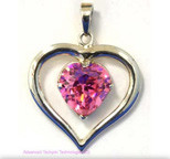"Small ""Heart in Heart"" CZ Pendant Pink - Elegant Energizer"
