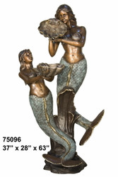 Pair of Mermaids- Spillover Shell Fountain