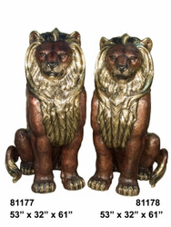 """Pair of Sitting Lions - Left and Right - 61"""" Design"""