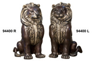 """Pair of Sitting Lions - Left and Right - 33"""" Design"""