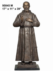 "39"" Bronze Statue of Father Pio - with Marble Base"