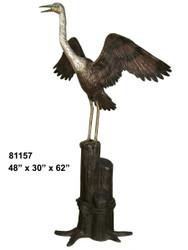 "Crane Perched on a Piling, 62"" Design - SALE!"
