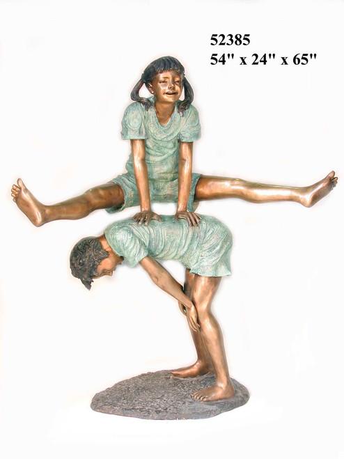 Boy & Girl Playing Leapfrog - Large Version