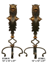 "Bronze Fireplace Andirons - 27"" Ornate Design"