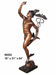 "Bronze Statue of Mercury - 64"" Design"