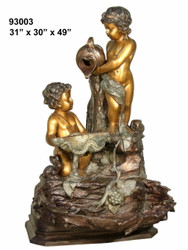 "2 Cherub Fountain on Rock Formation Base - 49"" Design"