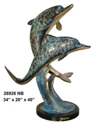 Swimming Dolphins - With Marble Base - Special Patina, Style NB