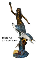 Mermaid with Sea Turtles Holding a Shell - Special Patina, Style NA