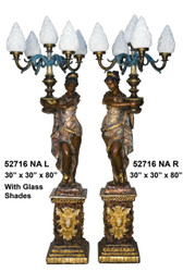 "80"" Lamps with Maidens on Pedestals, Left & Right Pair - Shades Included (not shown) - Special Patina, Style NA"