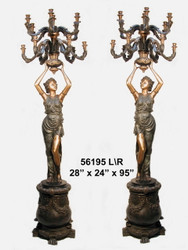"95"" Maidens on Pedestals - Left & Right Pair - Ornate Torchieres"