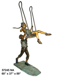 "Boy Pushing a Girl on a Swing - 89"" Design - Special Patina, Style NA"