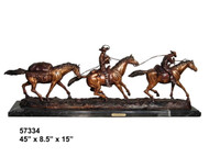"Remington design, ""Cowboy Team"" - with Marble Base"