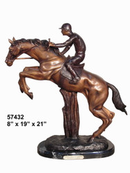 "Remington design, ""Jockey Jumping"" - with Marble Base"