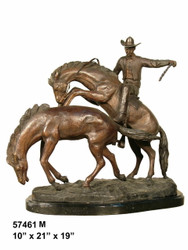 "Remington design, ""Cowboy on a Rearing Horse"" - with Marble Base"