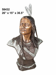 Indian Warrior Bust - with Marble Base (not shown)