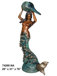 Mermaid Holding a Shell Fountain - Special Patina, Style NA