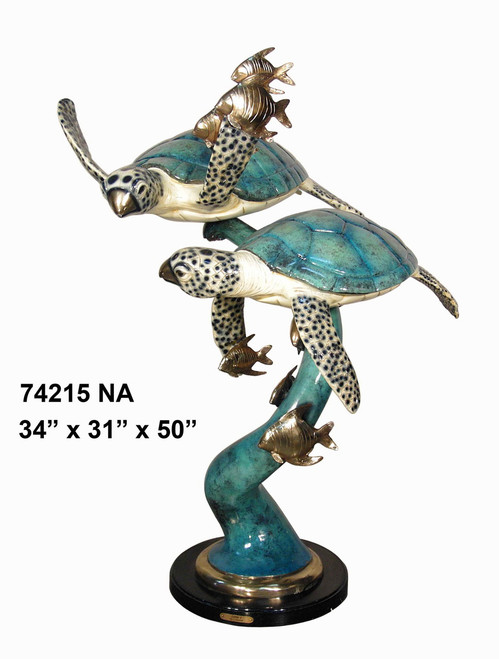 Sea Turtles Swimming with Fish - Special Patina, Style NA