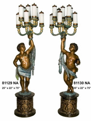Cherubs on Pedestals, Left & Right Pair - Special Patina, Style NA