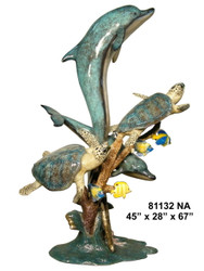 Dolphins & Two Sea Turtles Swimming, Special Patina, Style NA