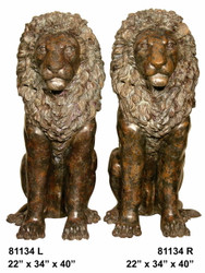Lions in Sitting Position, Left & Right Pair