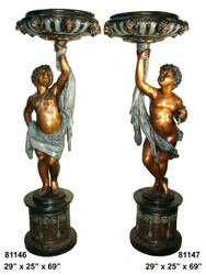 Cherubs Holding Bowls, Left & Right Pair