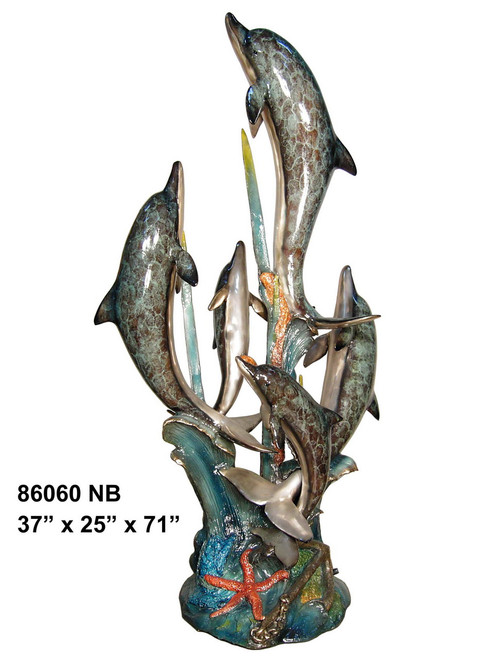 """Dolphin Family, Swimming Up - 71"""" Design - Special Patina, Style NB"""
