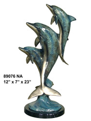 "Dolphin Family - 23"" Design - with Marble Base - Special Patina Style NA"