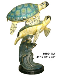 2 Sea Turtles Swimming - with Marble Base - Special Patina, Style NA