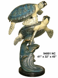 2 Sea Turtles Swimming - with Marble Base - Special Patina, Style NC