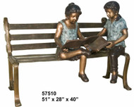 "2 Kids Reading on a Bench - 51"" Bench Length"