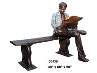 Man Reading a Newspaper - with Bronze Bench