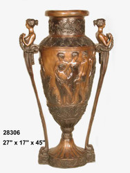 "45"" Greco-Roman Bronze Urn with Goddess Handles"
