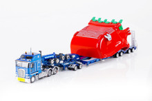 1:50 diecast scale model of Kenworth K200 with Drake 2x8 Dolly and Drake 4x8 Bucket Trailer-Metallic Blue