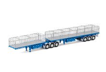 1:50 diecast scale model of MaxiTRANS Freighter B Double Flat Top Trailer Set - McAleese