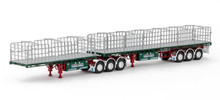 1:50 diecast scale model of MaxiTRANS Freighter B Double Flat Top Trailer Set - Membrey