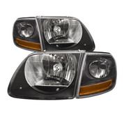 1999-04 FORD F-150 SVT LIGHTNING 02-03 HARLEY DAVIDSON HEADLIGHT AND SIDE MARKER KIT BLACK HOUSING CLEAR LENS