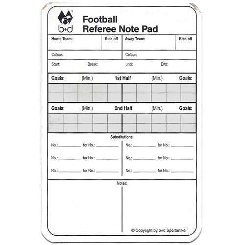 Referee Match Report Card