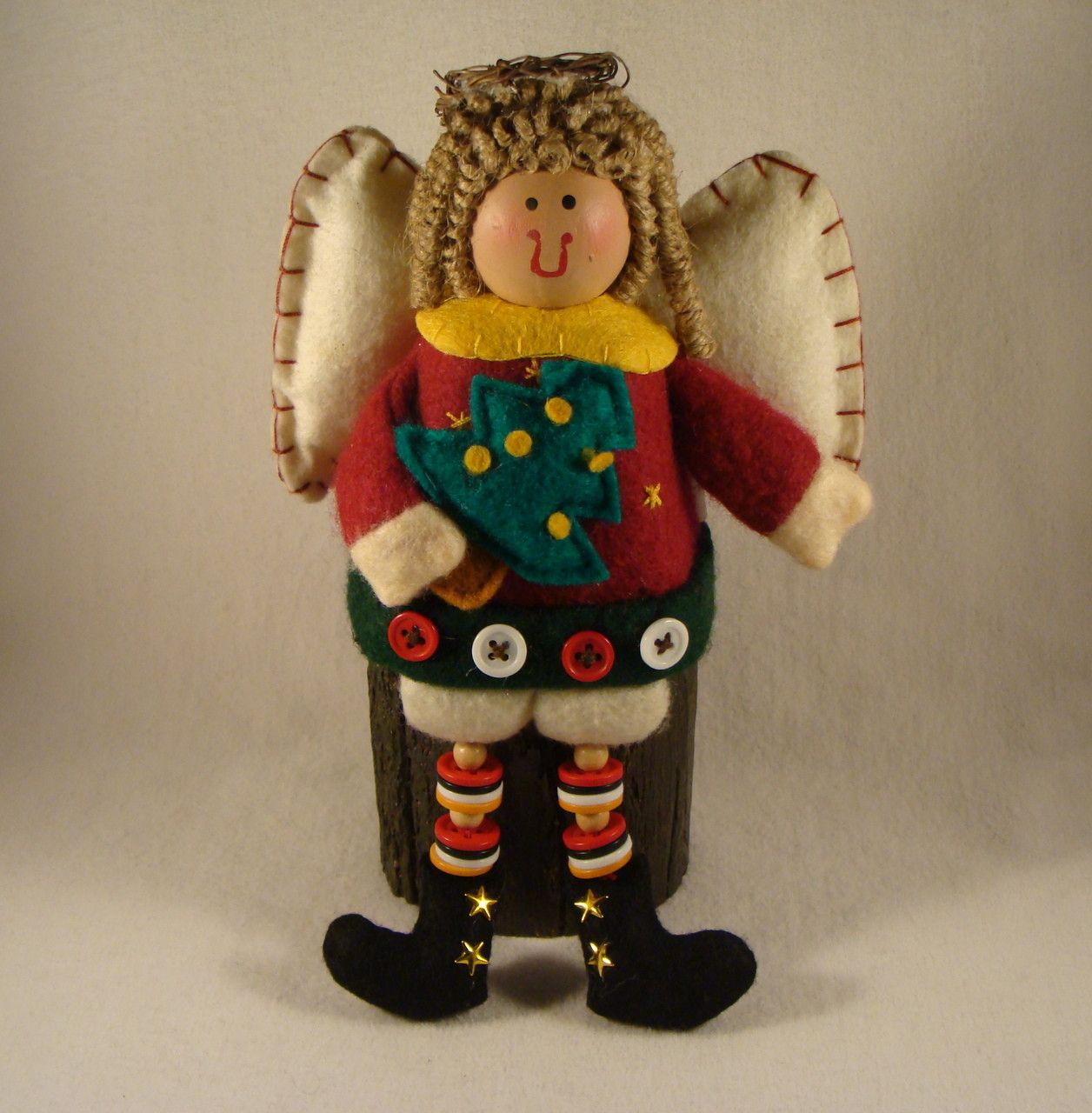 Noel Christmas Carolers Decoration Felt Clothes Big By: ANGEL With DANGLING LEGS * NEW From Our Retail