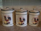 Noel  ~  ROOSTER CERAMIC CANISTER ... Set of 3  *  NEW From Our Retail Shop
