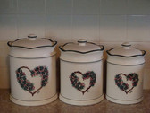 Noel  ~  CANISTER SET Of 3 ... Green Heart & Flower  *  NEW From Our Shop